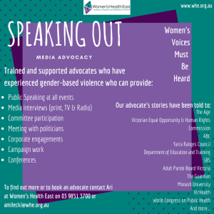 2018 Speaking Out Advocacy Flyer